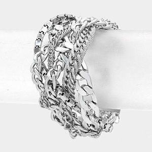 Silver Metal Braided Chain Bracelet